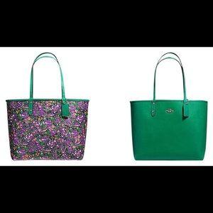 Coach reversible floral tote purse